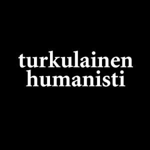T-paidoissa ja kangaskasseissa on Turkulainen humanisti -painatus.